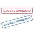 global epidemic textile stamps vector image vector image