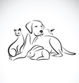 group pets on white background vector image vector image