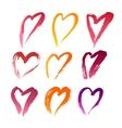 Handdrawn Lipstick Hearts vector image vector image