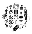 happening icons set simple style vector image vector image