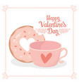 happy valentines day sweet bite donut and coffee vector image vector image