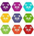 head of panda icon set color hexahedron vector image vector image