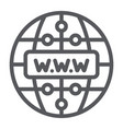 internet line icon website and globe network vector image