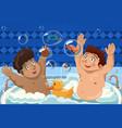kids having a bubble bath vector image