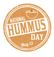 national hummus day grunge rubber stamp vector image vector image