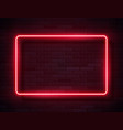 neon glowing rectangle frame for banner on dark vector image