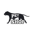 pet shop logotype design canine animal silhouette vector image vector image