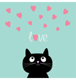Pink hearts and cute cartoon cat Flat design style vector image vector image