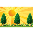 Scene with trees and flowers in garden vector image
