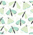 seamless pattern with decorative butterflies moth vector image vector image