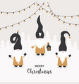 season greetings christmas card with cute little vector image vector image