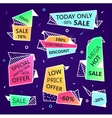 set of sale origami outline banners with vector image vector image