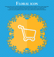 Shopping cart Floral flat design on a blue vector image vector image