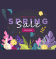 spring sale banner leaves and spring flowers vector image vector image