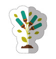 sticker of plant stem with leaves and fluorescent vector image vector image