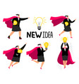 super businesswoman new idea icons vector image vector image