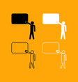 teacher standing near board set icon vector image vector image