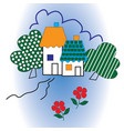 two houses and trees vector image vector image