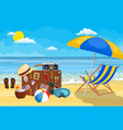 vintage old travel suitcase on beach vector image vector image