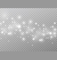 white glowing lights wave isolated on transparent vector image vector image