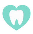 white tooth heart love icon healthy tooth oral vector image