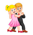 woman using the pink dress and the man vector image vector image