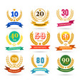 anniversary numbers design collection vector image