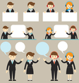 Businessman Male and Female Show Presentation with vector image