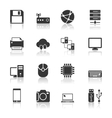 Technology Icons Set with reflection vector image