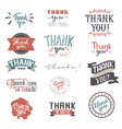 thank you card set text thankful lettering vector image