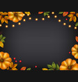 autumn background with pumpkins and lights vector image