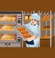 baker holding breads vector image