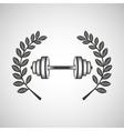 barbell sport emblem laurel branch vector image