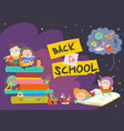 boy and girl sitting on piles of books back to vector image