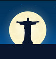 brazil silhouette of attraction travel banner vector image vector image
