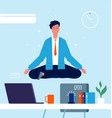 business character yoga manager sitting on office vector image vector image