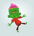cartoon funny green zombie with big head vector image vector image