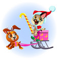 cartoon funny puppy sledding box with presents vector image vector image