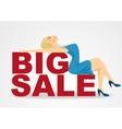 cartoon woman girl lying on big sale text vector image vector image