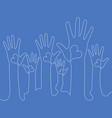 continuous line raised hands with hearts concept vector image