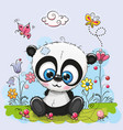 cute cartoon panda with flowers and butterflies vector image vector image