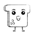 delicious toast bread kawaii character vector image