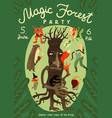 forest magic party announcement poster vector image vector image