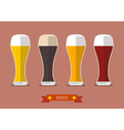 Four glasses of different beers icon vector image vector image