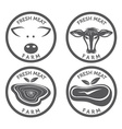 fresh meat vintage labels set vector image