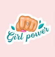 girl power with raised female fist with manicure vector image