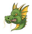 green dragon head mascot vector image vector image