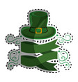 green hat st patrick with ribbon and branches vector image vector image