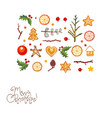 greeting card with christmas decorations on white vector image vector image
