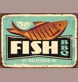 grilled fish and lemon slice vintage sign vector image vector image